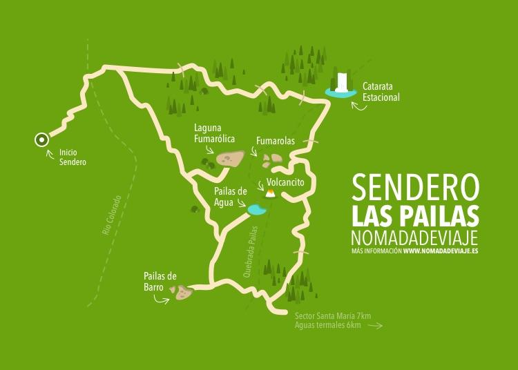 Mapa Sendero Las pailas por nomadadeviaje