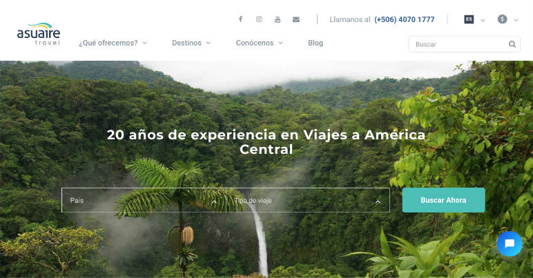 Captura página web Asuaire, empresa de alquiler de coches local.